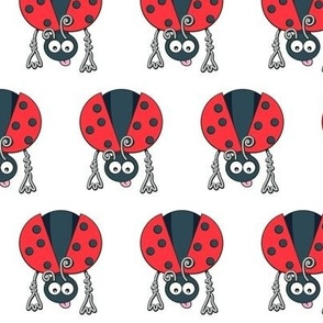 Сhildren's seamless pattern with stylized ladybirds