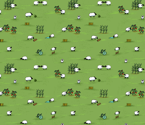 Sheep fabric by lelulagames on Spoonflower - custom fabric