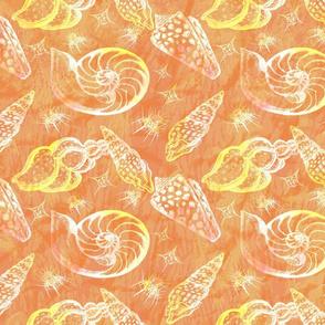 Tropical Ocean Seashells seamless pattern