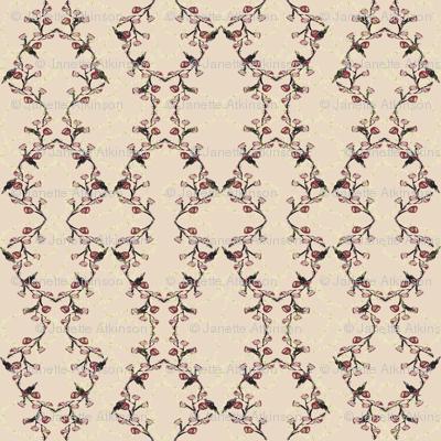 Red black bird hex pattern cream