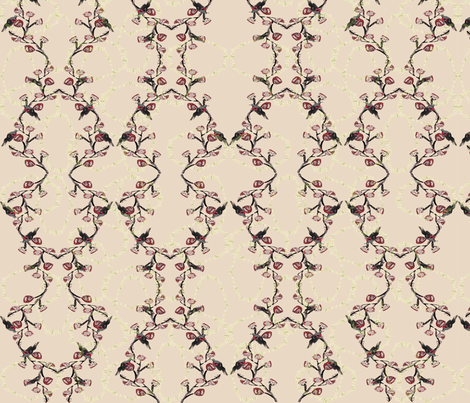 Red black bird hex pattern cream  fabric by janetteatkinson@yahoo_co_uk on Spoonflower - custom fabric