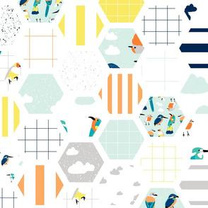 Hexagon Wholecloth Bird Lineup Cheater Quilt