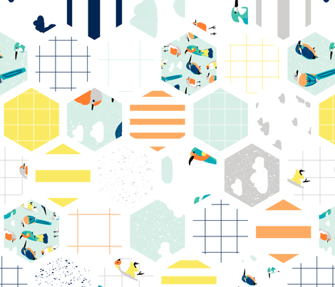 Bird Hexagons Rotated fabric by sweeterthanhoney on Spoonflower - custom fabric