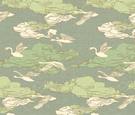 The Wild Swans {Antique Green} fabric by ceciliamok on Spoonflower - custom fabric