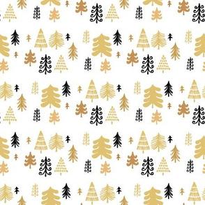 Golden christmas forest