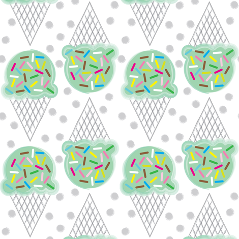 mint ice-cream-cones-with-multicolor-sprinkles fabric by lilcubby on Spoonflower - custom fabric