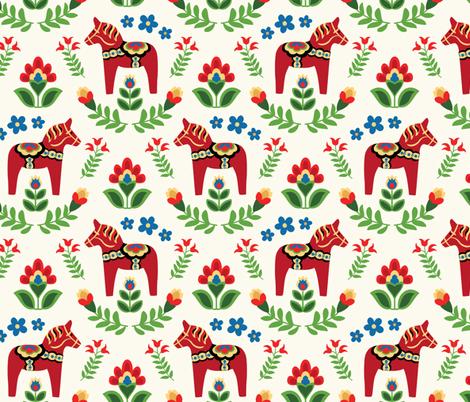 Swedish Folk Dala Horses fabric by barbarapixton on Spoonflower - custom fabric