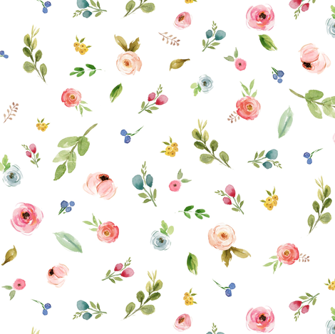 Woodland Flowers - Pink Peach Blush Blue Floral fabric by gingerlous on Spoonflower - custom fabric