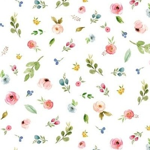 Woodland Flowers - Pink Peach Blush Blue Floral