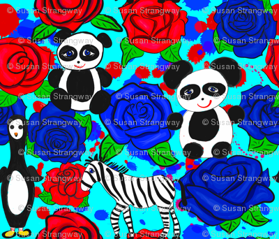 Black and White Animals on Red and Blue Roses