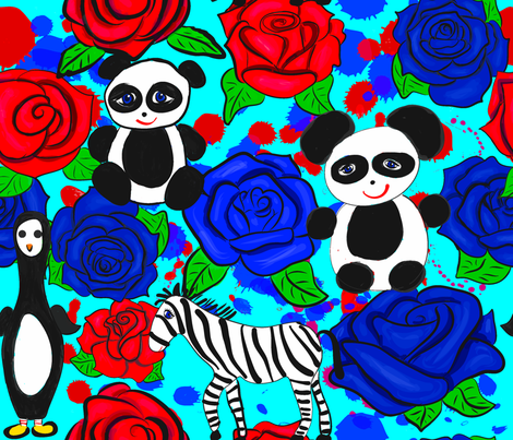 Black and White Animals on Red and Blue Roses fabric by orangefancy on Spoonflower - custom fabric