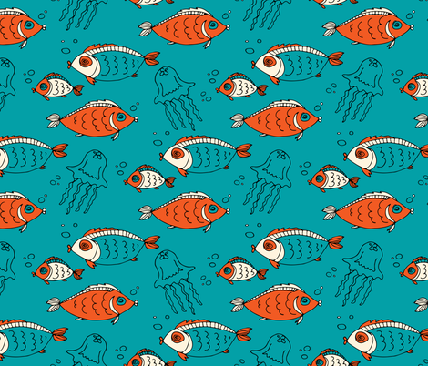 fish and jellyfish fabric by tatyana_okhitina on Spoonflower - custom fabric