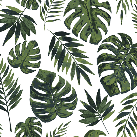 Tropical Leaves white fabric by mintpeony on Spoonflower - custom fabric