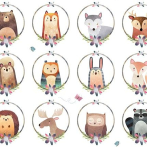 Woodland Critter Faces (pink flower) Baby Nursery Animals, Bear Wolf Fox Moose Owl Raccoon Hedgehog, GingerLous SMALL SCALE