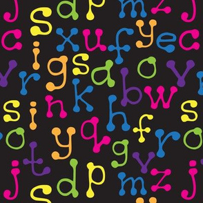 multicolored letters on black