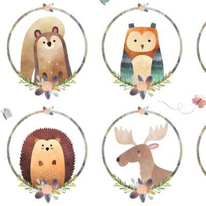 Woodland Critter Faces – Blush Baby Nursery Animals, Bear Wolf Fox Moose Owl Raccoon Hedgehog, GingerLous LARGE A