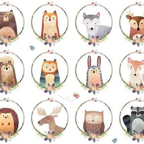 Woodland Critter Faces – Blush Baby Nursery Animals, Bear Wolf Fox Moose Owl Raccoon Hedgehog, GingerLous SMALL B
