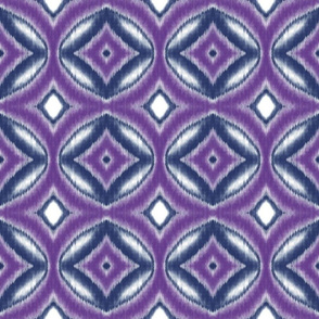 Ikat Circles and Diamonds in Violet and Navy