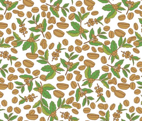 coffee beans and coffee branches fabric by tatyana_okhitina on Spoonflower - custom fabric