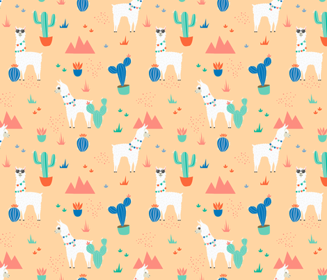 Summer Llamas in the Desert fabric by latheandquill on Spoonflower - custom fabric