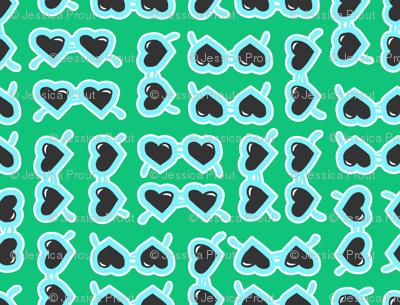 heart shaped glasses blue on green
