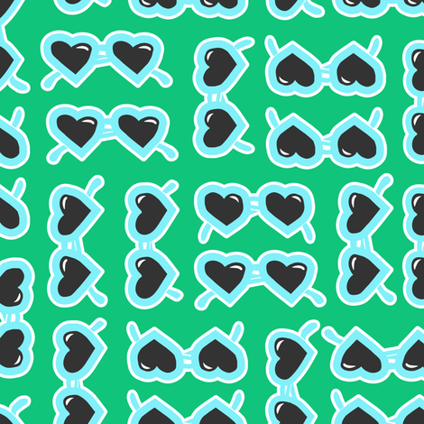 heart shaped glasses blue on green fabric by littlearrowdesign on Spoonflower - custom fabric