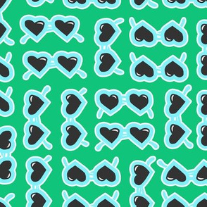 heart shaped glasses blue on green