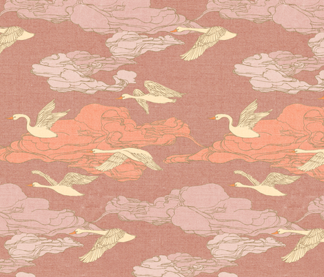 The Wild Swans {Rose} fabric by ceciliamok on Spoonflower - custom fabric
