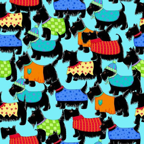 Scotties Whimsy Dogs Packed Turquoise