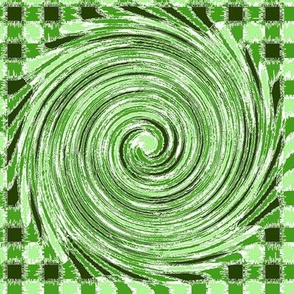 HCF12 - Large - Hurricane in a Checkered  Olive and Lime Green Field