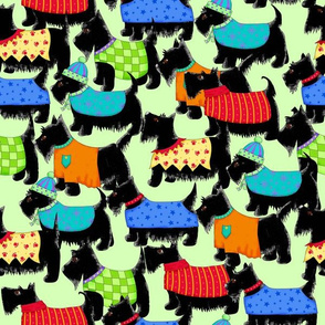Scotties Whimsy Dogs Packed Green