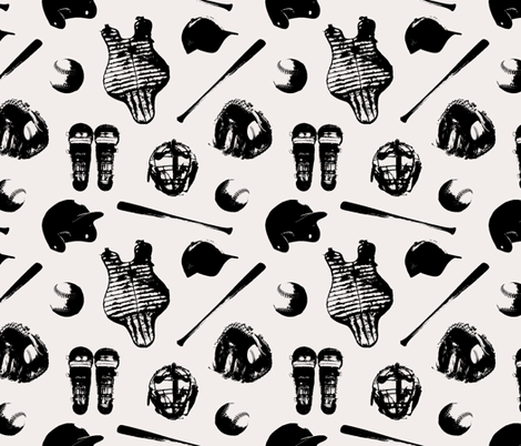 Baseball Gear on Whisper White // Large fabric by thinlinetextiles on Spoonflower - custom fabric