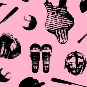 Baseball Gear on Light Pink // Large