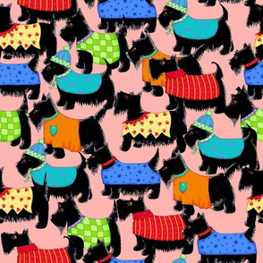Scotties Whimsy Dogs Packed Coral