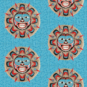 Native American Sun on Turquoise
