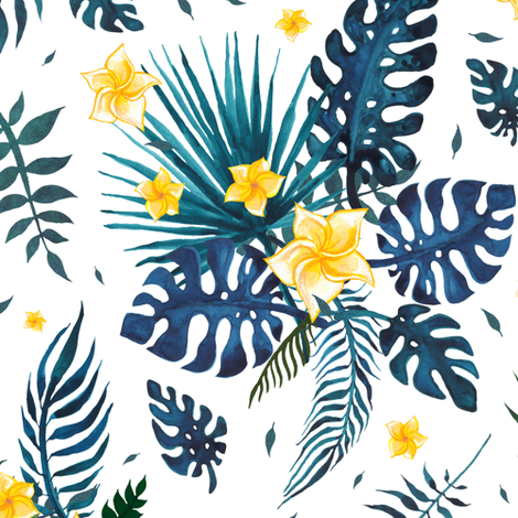 Watercolor tropical pattern fabric by katyau on Spoonflower - custom fabric