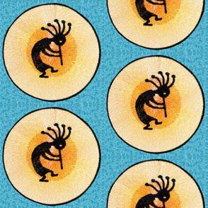 Native American Kokopelli on Turquoise