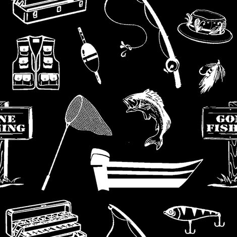 Gone Fishin' // Black // Large fabric by thinlinetextiles on Spoonflower - custom fabric