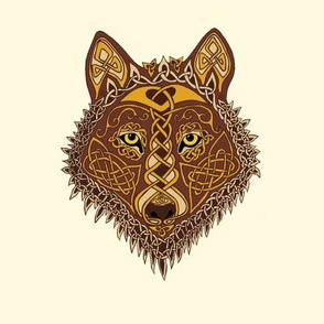 Celtic Wolf Face 1 on cream