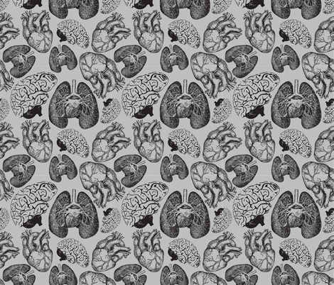 Anatomical Organ Variety Black on Grey Small fabric by beththompsonart on Spoonflower - custom fabric