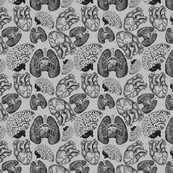 Anatomical Organ Variety Black on Grey Small