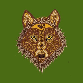 Celtic Wolf Face 1 on Green