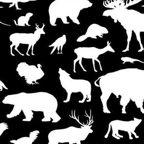 North American Animals on Black // Large