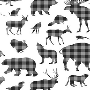 North American Animals in Grey Plaid // Large