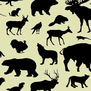North American Animals on Pale Yellow // Large-size