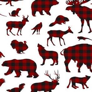 North American Animals // Buffalo Plaid // Large-size