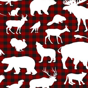 North American Animals on Buffalo Plaid // Large-size