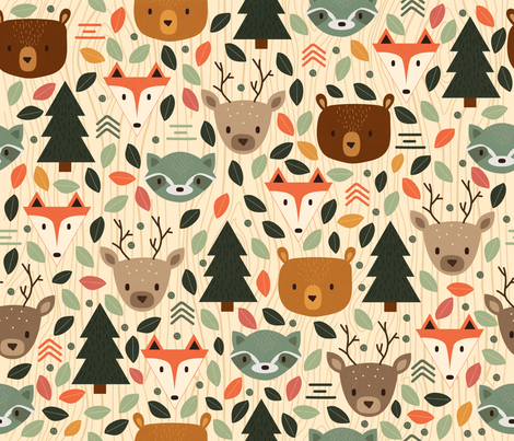 Woodland Creatures fabric by megdig_design on Spoonflower - custom fabric