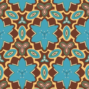 Brown Blue and Sand Marrakesh Style Floral