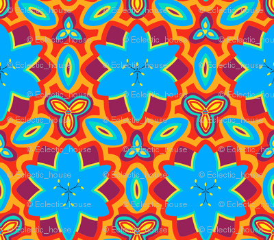 Orange Red and Blue Marrakesh Style Floral